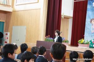 有田小入学式26.4.10 川野校長よりお祝いの言葉