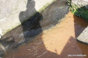 調整池の水と日掛け水路の水