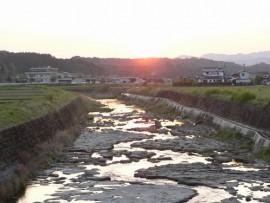 有田川の夕日4.12
